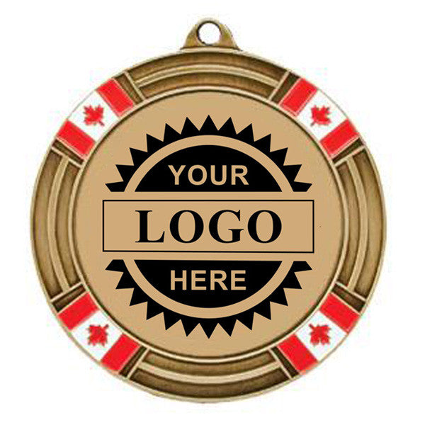 "Logo Insert Medal - GOLD Canada Flag - Black Engraving - 2 5/8"" Diameter (A2793) - Quest Awards"
