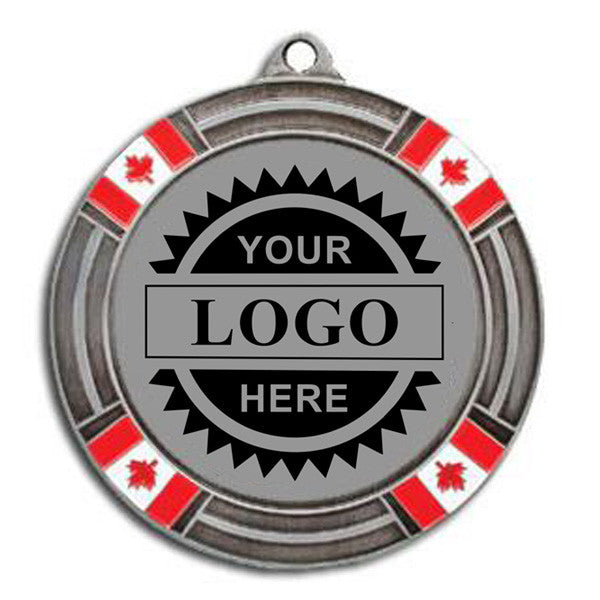 "Logo Insert Medal - SILVER Canada Flag - 2 5/8"" Diameter (A2802) - Quest Awards"