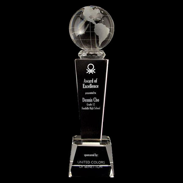 Crystal Award - Galaxy Globe on Pedestal Crystal Base (A2299) - Quest Awards