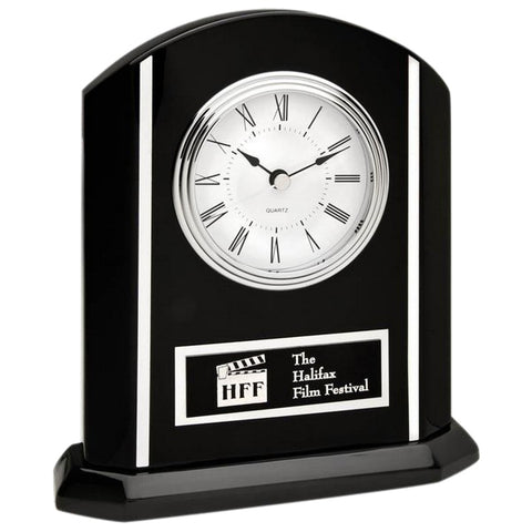 Clock - Ebony Piano Clock with Silver (A2268) - Quest Awards