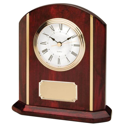 Clock - Rosewood Piano Clock with Gold (A2274) - Quest Awards