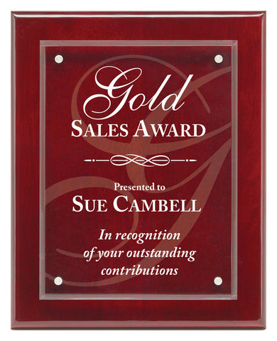 Piano Finish Plaques - Magna Acrylic Rosewood - Quest Awards