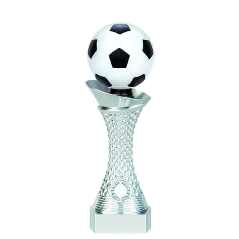 Soccer Trophy - 3D Twister - Bright Silver - 3 Sizes (A3556) - Quest Awards