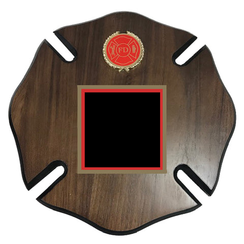 Firefighter Plaque - Maltese Cross - Laminated Wood with Adornments (A2407) - Quest Awards