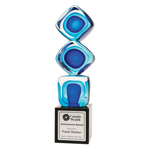 Art Glass Award - Blue Cube Stack (A3329) - Quest Awards