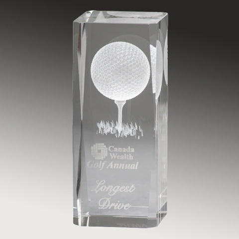 Golf Trophy - Crystal Pillar 3-D Player (A3307) - Quest Awards