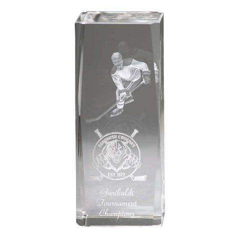 Hockey Trophy - Crystal Pillar 3-D Player (A2654) - Quest Awards