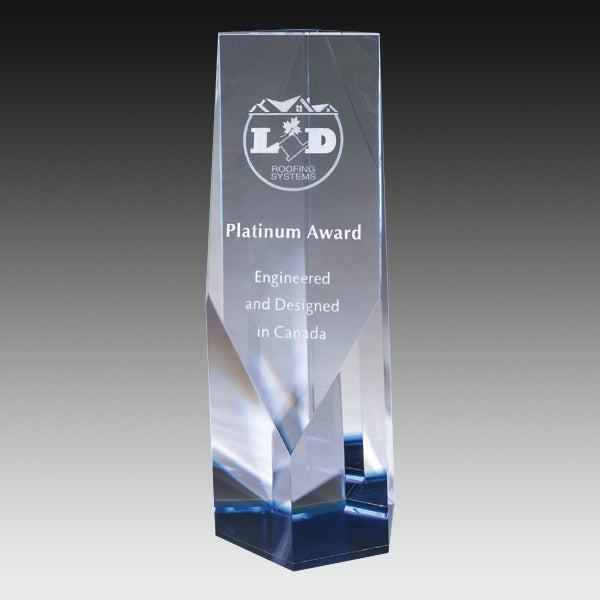 Crystal Award - Cobalt Series - Angular Prism (A3331) - Quest Awards
