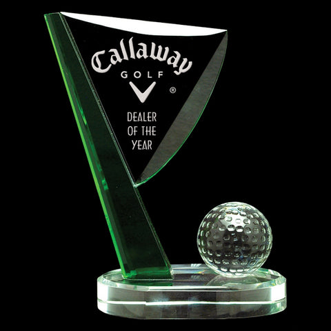 Golf Crystal Award - Palm Aire - Golf Green & Clear Flag (A2566) - Quest Awards