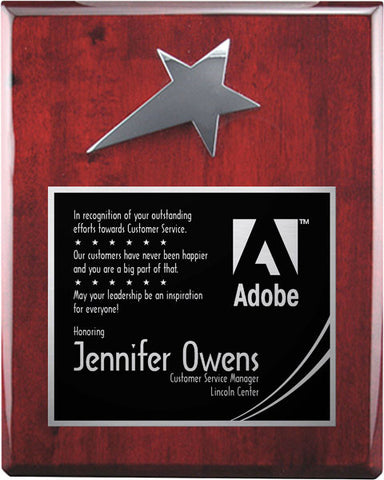 Piano Finish Plaques - Rosewood Silver Star (A2901) - Quest Awards