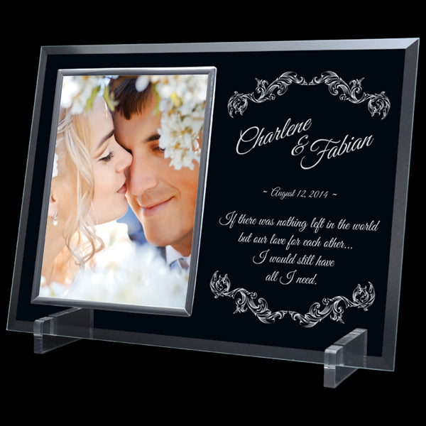Photo Plaque - Glass with Silver Frame (A2883) - Available in two sizes
