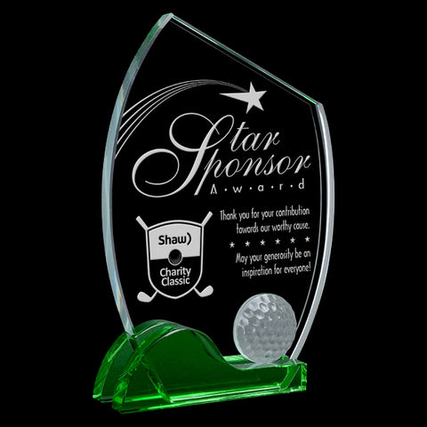 Golf Glass Award - Nicklaus - Green & Clear Slice (A3374) - Quest Awards
