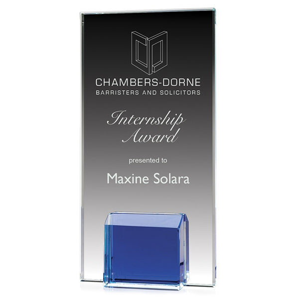 Glass Award - Gemstone Blue Block (A3508) - Quest Awards
