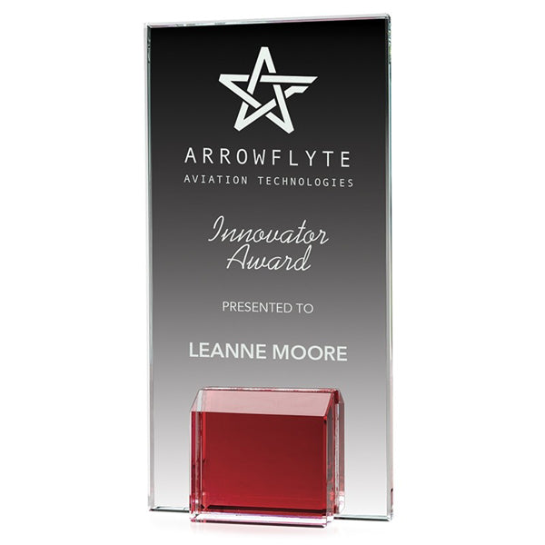 Clear Glass Award - Gemstone Red Block (A3510) - Quest Awards