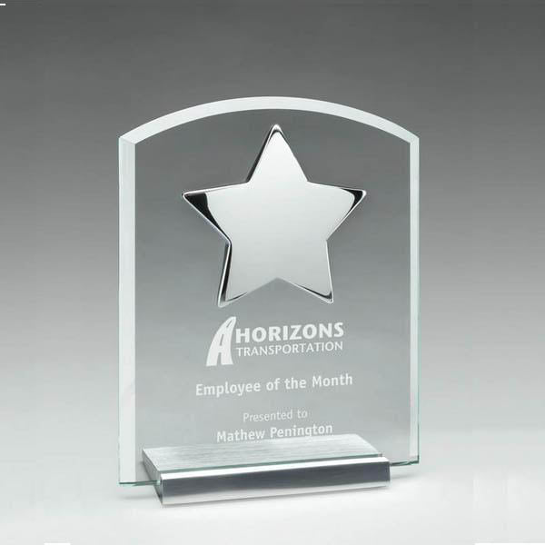 Glass Award - Prestige Series Plaque with Silver Star (A3319) - Quest Awards