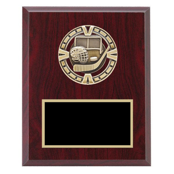 "Hockey Plaque - Varsity Medal mounted on Laminate Plaque 5"" x 7"" (A2627) - Quest Awards"