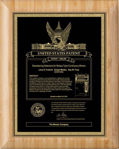 Canadian Patent Plaque - Bamboo Round Edge (A2258) - Quest Awards