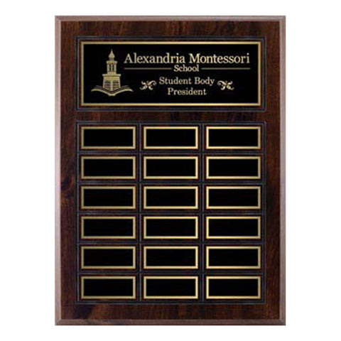 Annual Plaque - Cherrywood Laminated Plaque - 18 Plates (A2134) - Quest Awards