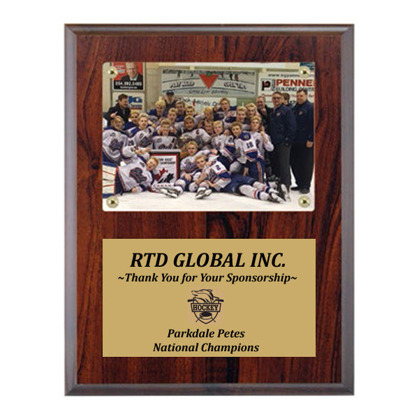 "Photo Plaque - Cherrywood 7""x9"" plaque holds 3 1/2""x5"" Photo (A3517) - Quest Awards"