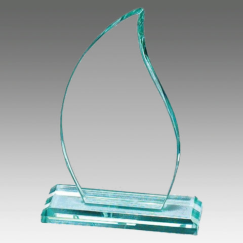"Glass Jade Award - 1/2"" Thick Premium Flame (A2540) - Quest Awards"