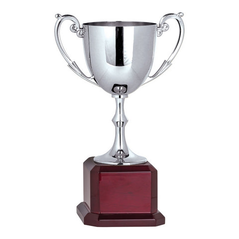 Cups - Nickel Plated - Silver Cup on Square Rosewood Base (A3431) - Quest Awards