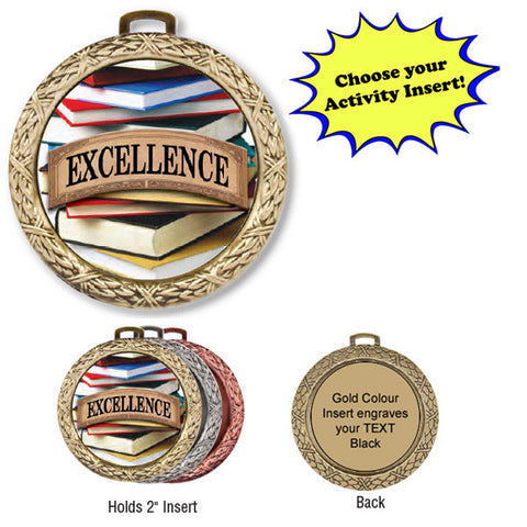 "Medallion - Insert Medal - Weave - 2 1/2"" Diameter Holds 2"" Activity Insert (A2849) - Quest Awards"