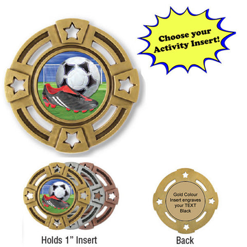 "Medallion - Insert Medal - Four Stars - 2"" Diameter Holds 1"" Activity Insert - Quest Awards - 1"
