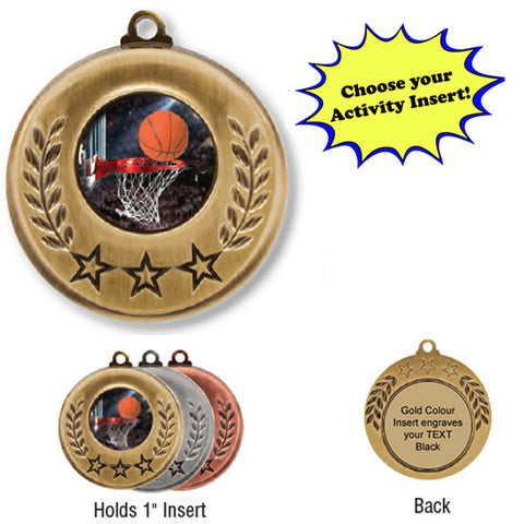 "Medallion - Insert Medal - 3 Stars - 2"" Diameter Holds 1"" Activity Insert (A2839) - Quest Awards"