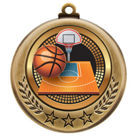 "Basketball Medallion - Spectrum Series - 2 3/4"" Diameter - Quest Awards"