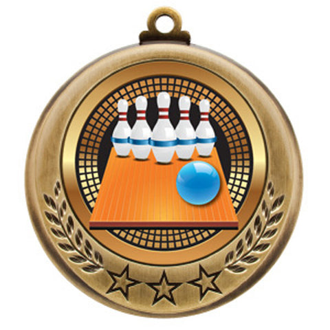 "Bowling 5-Pin Medallion - Spectrum Series - 2 3/4"" Diameter - Quest Awards"