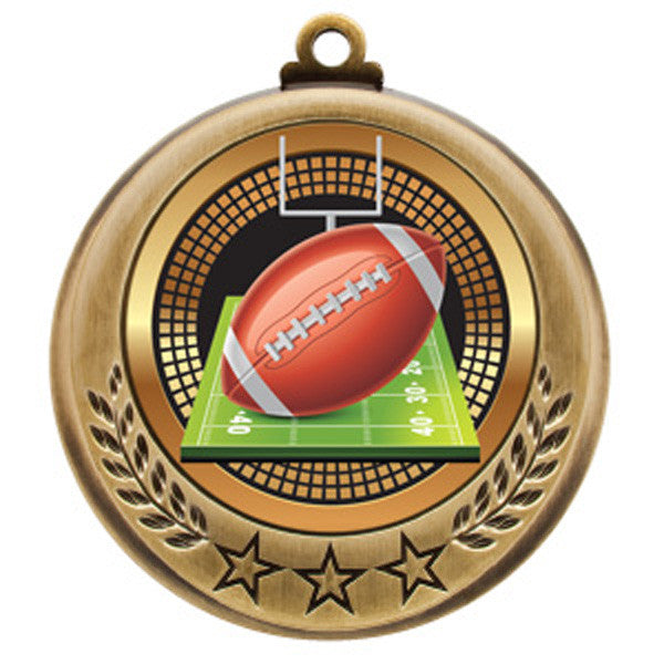 "Football Medallion - Spectrum Series - 2 3/4"" Diameter (A2430) - Quest Awards"