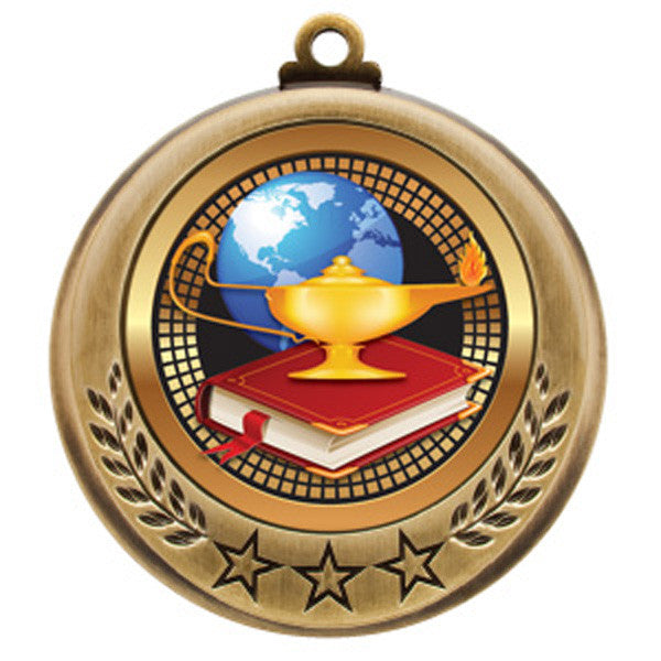 "Medallion - Spectrum Series - Lamp of Knowledge - 2 3/4"" Diameter (A2860) - Quest Awards"