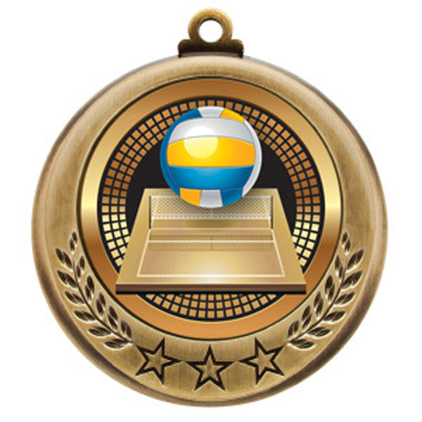"Volleyball Medallion - Spectrum Series - 2 3/4"" Diameter (A3172) - Quest Awards"