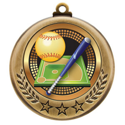 "Softball Medallion - Spectrum Series - 2 3/4"" Diameter (A3069) - Quest Awards"