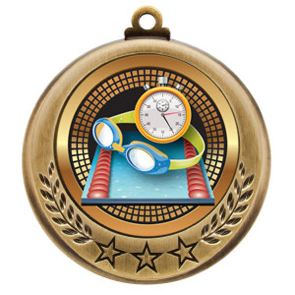 "Swimming Medallion - Spectrum Series - 2 3/4"" Diameter - Quest Awards - 1"