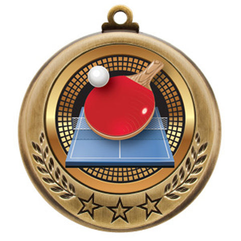 "Table Tennis Medallion - Spectrum Series - 2 3/4"" Diameter - Quest Awards - 1"