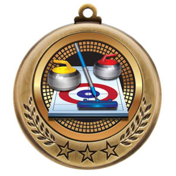 "Curling Medallion - Spectrum Series - 2 3/4"" Diameter - Quest Awards - 1"