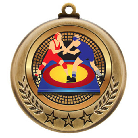 "Wrestling Medallion - Spectrum Series - 2 3/4"" Diameter - Quest Awards - 1"