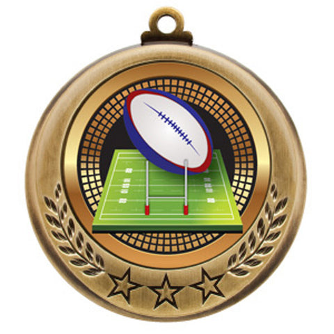"Rugby Medallion - Spectrum Series - 2 3/4"" Diameter - Quest Awards"