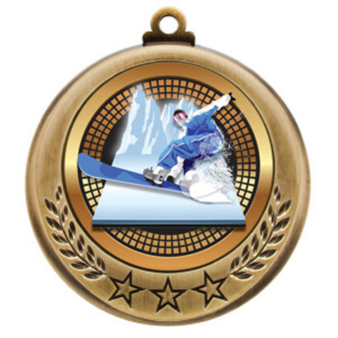 "Snowboard Medallion - Spectrum Series - 2 3/4"" Diameter - Quest Awards - 1"
