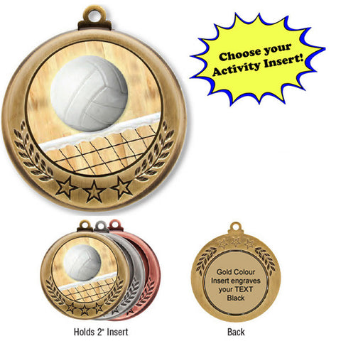 "Medallion - Insert Medal - 3 Stars - 2 5/8"" Diameter Holds 2"" Activity Insert (A2838) - Quest Awards"