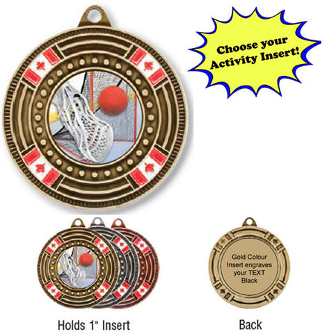 "Medallion - Insert Medal - Canada Flags - 2"" Diameter Holds 1"" Activity Insert - Quest Awards"