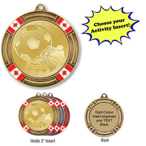 "Medallion - Insert Medal - Canada Flags - 2 5/8"" Diameter Holds 2"" Activity Insert - Quest Awards"