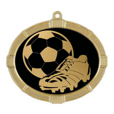 "Soccer Medallion - Impact Series - 3 3/8"" x 2 5/8"" (A2984) - Quest Awards"