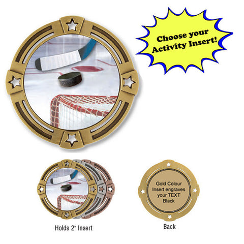 "Medallion - Insert Medal - Four Stars - 2 3/4"" Diameter Holds 2"" Activity Insert - Quest Awards - 1"