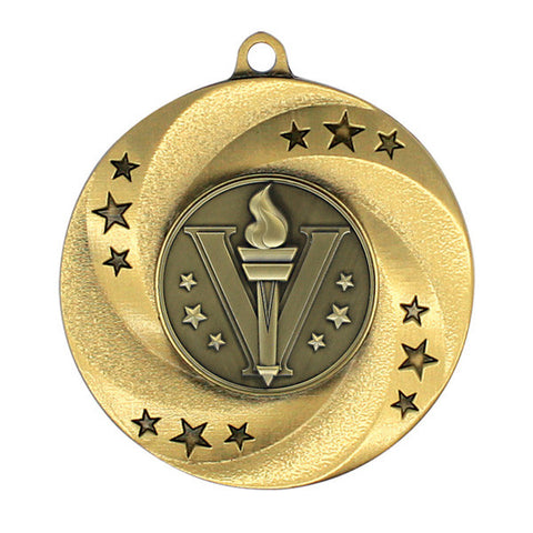 "Victory Matrix Series Medal, Gold, Silver or Bronze - 2"" Diameter - Quest Awards"