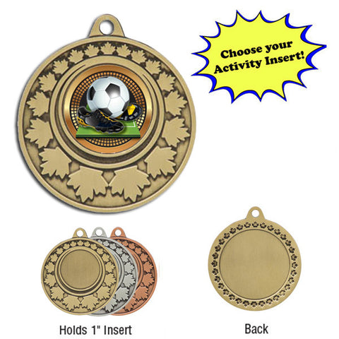 "Medallion - Insert Medal - Maple Leaf - 2"" Diameter Holds 1"" Activity Insert - Quest Awards - 1"