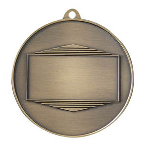 "Logo Insert Medal - GOLD Banner - Black Engraving - 2 3/4"" Diameter - Quest Awards"