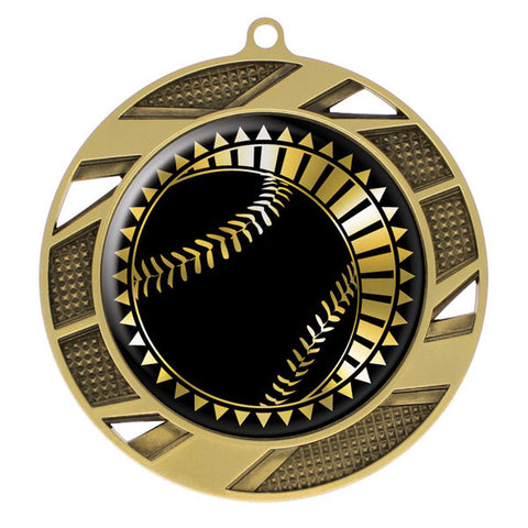 "Baseball Medallion - Solar Series Medal - Gold 2 3/4"" Diameter (A2163) - Quest Awards"