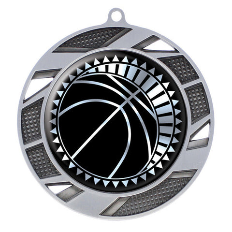"Basketball Medallion - Solar Series Medal - Silver 2 3/4"" Diameter"